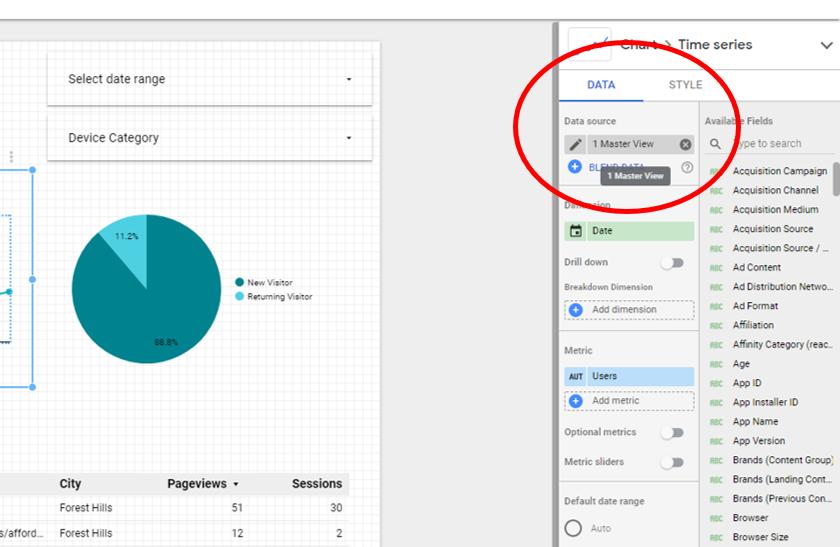 Google Data Studio edit data connection