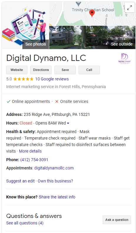Google My Business page for Digital Dynamo