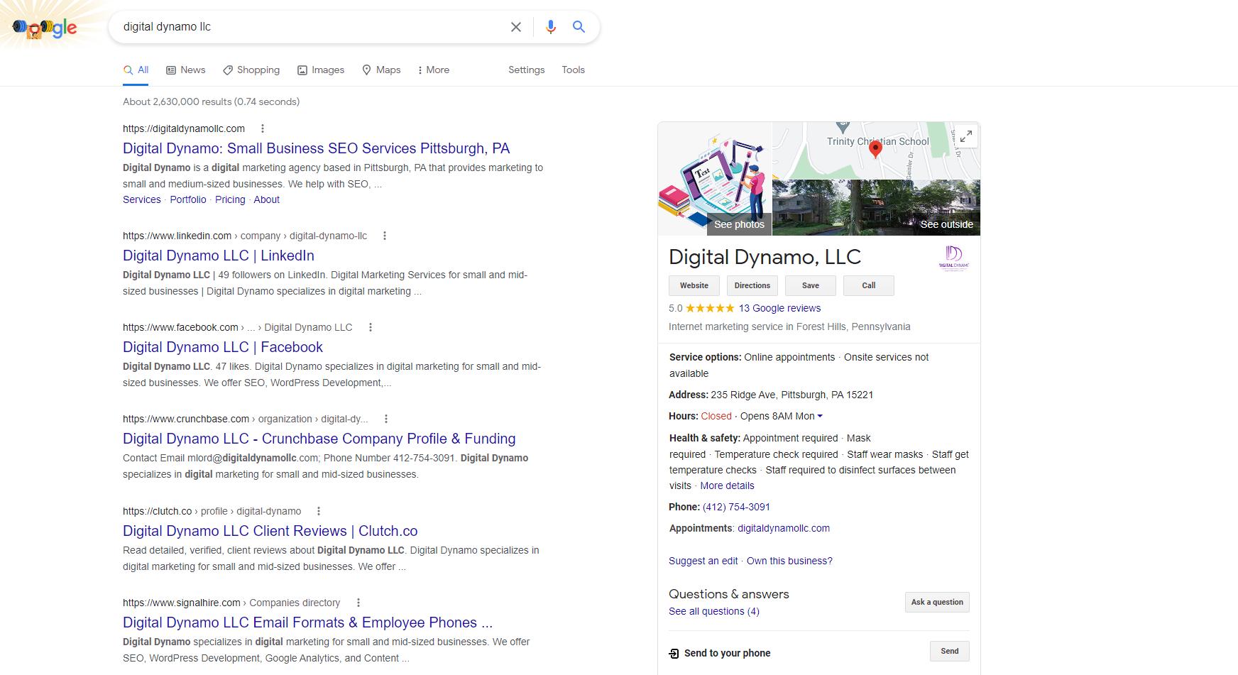 Digital Dynamo LLC SERP